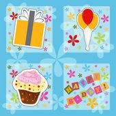 Feliz cumpleaños coloridas tarjetas de felicitación, ilustración vectorial — Vector de stock