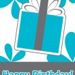 Happy birthday cute greeting card, vector illustration — Stok Vektör