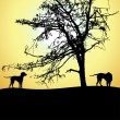 图库矢量图片: Silhouette of two dogs at sunset, vector