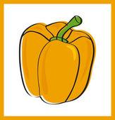 Sweet yellow pepper, vector illustration — Stock Vector