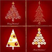 набор красивых рождественских елок, вектор illuctration — Cтоковый вектор