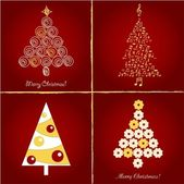 Set of pretty christmas trees , vector illuctration — Stockvector