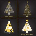 Set of pretty christmas trees , vector illustration — Stock Vector