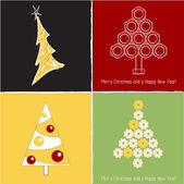 Set of pretty christmas trees , vector illuctration — Vector de stock