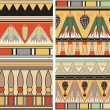 Set of ancient egyptian ornament, vector, seamless pattern — Stock Vector