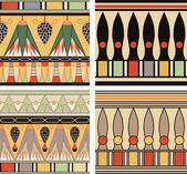 古代エジプトの装飾、ベクトル、シームレスなパターンのセット — ストックベクタ