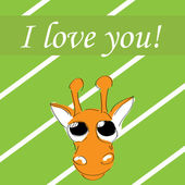 Cute card for Valentine's Day with giraffe, vector — Stock Vector