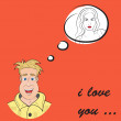 Funny greeting card for Valentine's Day, vector — Stockvectorbeeld