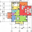 Stock vektor: Architectural drawing of house, autocad, vector