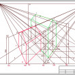 Cтоковый вектор: Drawing of buildings in perspective, autocad, vector