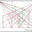 图库矢量图片: Drawing of buildings in perspective, autocad, vector