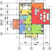 архитектурный чертеж дома, autocad, вектор — Cтоковый вектор