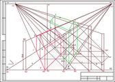 Ritning av byggnader i perspektiv, autocad, vektor — Stockvektor