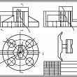 图库矢量图片: Drawing of some machine part, autocad, vector