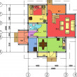 Cтоковый вектор: Architectural drawing of house, autocad, vector