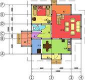Rysunek architektoniczno-budowlany domu, autocad, wektor — Wektor stockowy