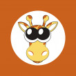 Vector illustration of cartoon giraffe with big cute eyes — Stok Vektör