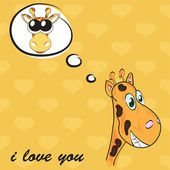 Greeting card for Valentine's Day with giraffe , vector — Stock Vector