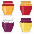 Icin set of simple jars with jam, vector — Stock Vector