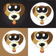 Stock Vector: Set of cartoon puppies (dogs) with big eyes, vector