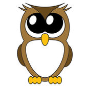 Very cute cartoon owl with big eyes, vector — Stock Vector