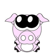 Very cute piglet with big eyes, vector — Stock Vector