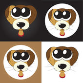 Set of cartoon puppies (dogs) with big eyes, vector — Stock Vector
