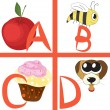 Stock Vector: Alphabet for kids, letters a-d, vector illustration