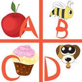 Alphabet for kids, letters a-d, vector illustration — Stock Vector