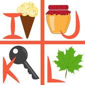 Alphabet for kids, letters i-l, vector illustration — Stock Vector
