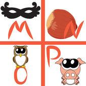 Alphabet for kids, letters m-p, vector illustration — Stock Vector