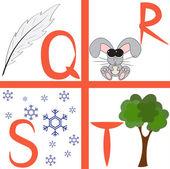 Alphabet for kids, letters q-t, vector illustration — Stock Vector