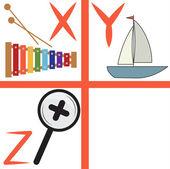 Alphabet for kids, letters x-z, vector illustration — Stock Vector