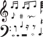 икона набор музыкальных нот. векторные иллюстрации — Cтоковый вектор