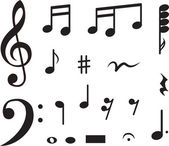 Conjunto de iconos de notas musicales. ilustración vectorial — Vector de stock