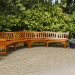 Joining Cedar Benches in Rest Area — Stock Photo