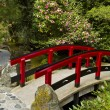 Japanese Garden with Red Bridge — Stock Photo