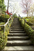 Wooden Staircase in Japanese Garden — Stock Photo