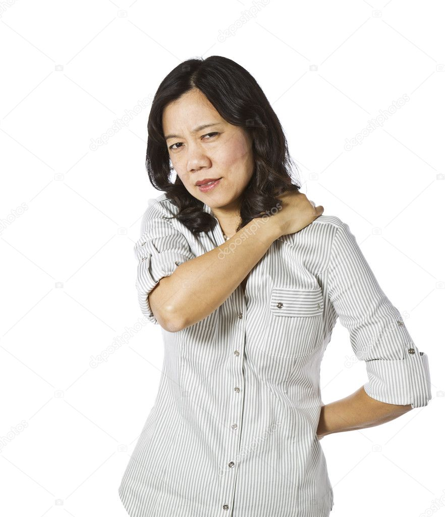 Asian lady touching her shoulder and back on white background — Stock Photo #8876763