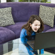 Watching Funny Video on Laptop — Stock Photo