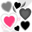 Grunge hearts, vector — Stock Vector