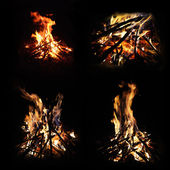 Set of campfire photographs — Stock Photo