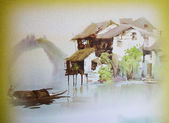 Old Japanese watercolor painting — Stock Photo