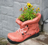 Flower pot in shape of shoe with blooming flowers — Stock Photo