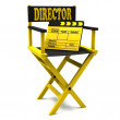 Chair director and movie clapper — Stock Photo