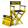 Chair director, movie clapper and megaphone — Stock Photo #10365168