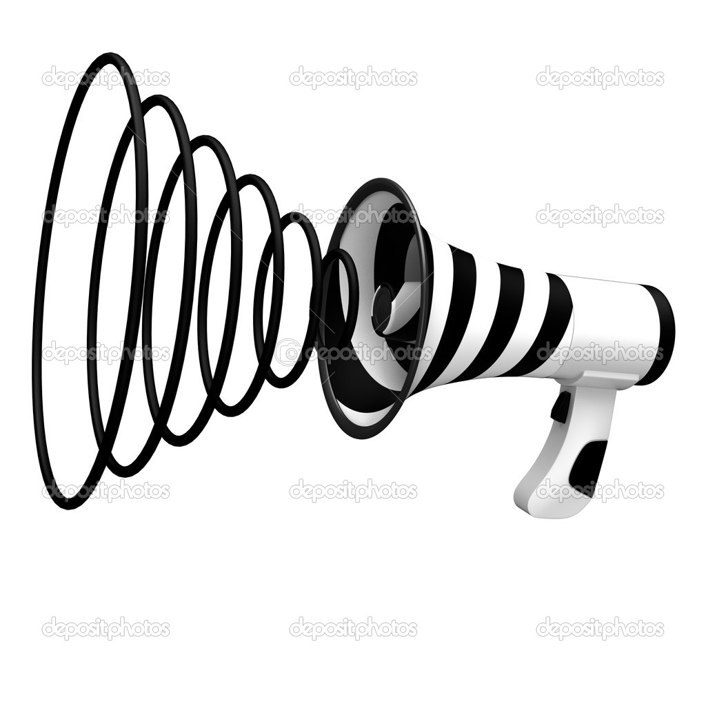 Megaphone with black stripes isolated on white background. — Stock Photo #8699745