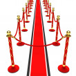 A red carpet and velvet rope — Stock Photo