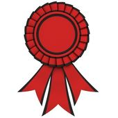 Red Ribbon award with a black border — Stock Photo