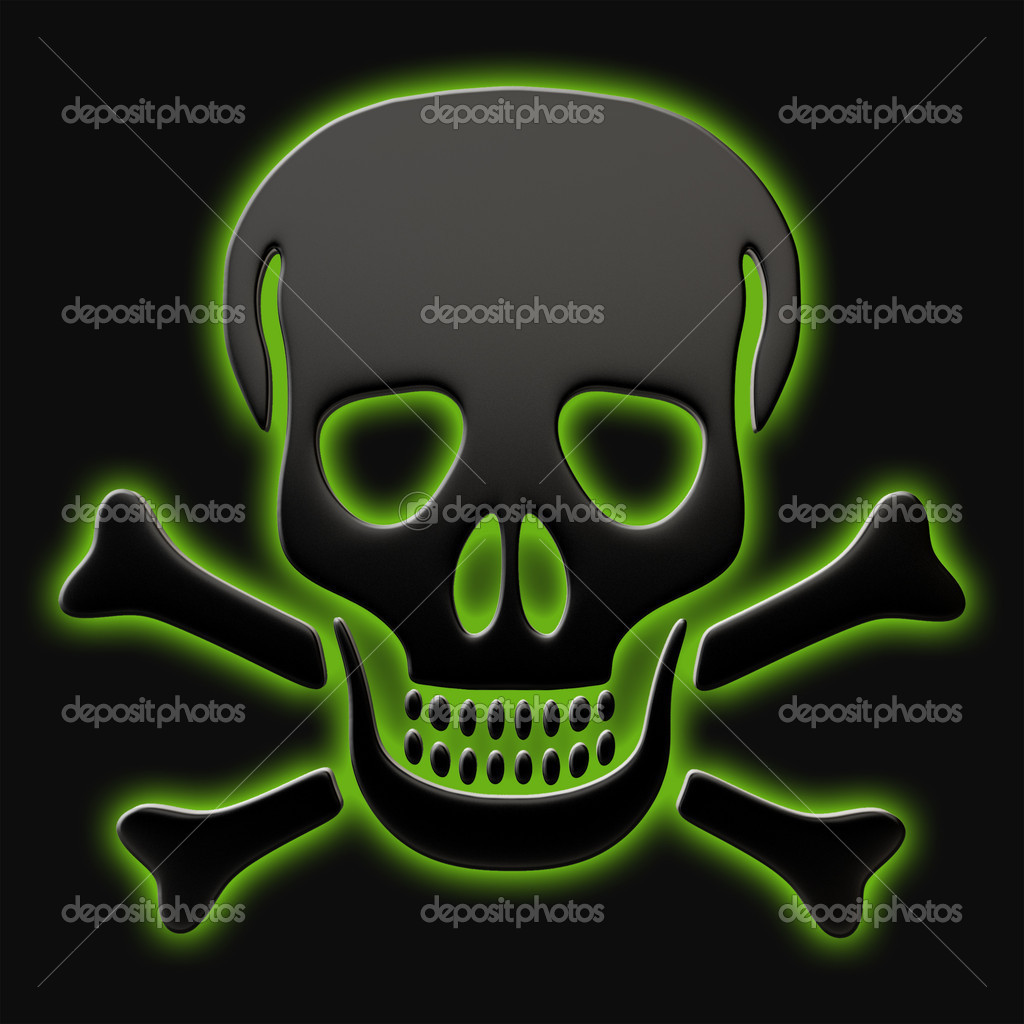 Skull and crossbones on a black background. — Stock Photo #9116984